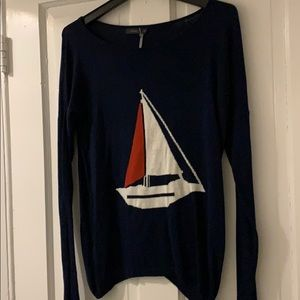Anthropologie Navy Sailboat Sweater